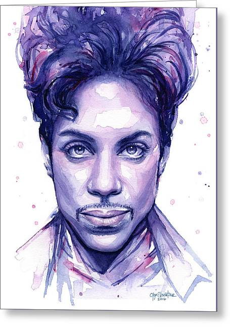 Prince Purple Watercolor Greeting Card by Olga Shvartsur
