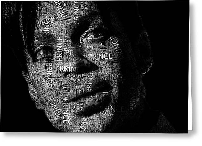 Prince Text Portrait - Typographic Face Poster With The Recorded Album Names Greeting Card by Jose Elias - Sofia Pereira