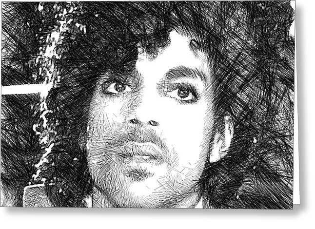 Prince - Tribute Sketch In Black And White 3 Greeting Card