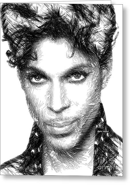Prince - Tribute Sketch In Black And White Greeting Card