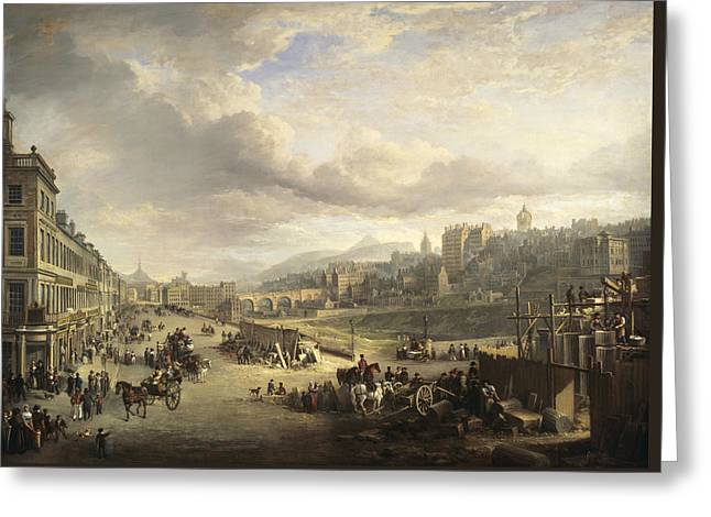 Princes Street With The Commencement Of The Building Of The Royal Institution Greeting Card by Alexander Nasmyth