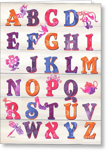 Princess Alphabet Greeting Card by Debbie DeWitt