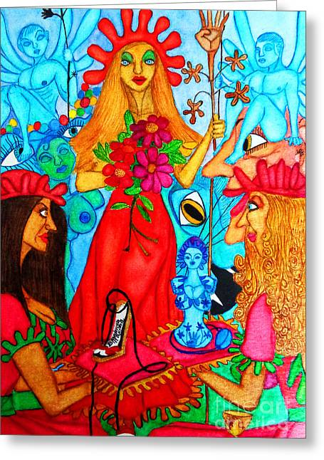 Greeting Card featuring the painting Princess Countrywoman. by Don Pedro De Gracia