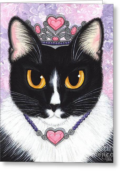 Princess Fiona -tuxedo Cat Greeting Card by Carrie Hawks