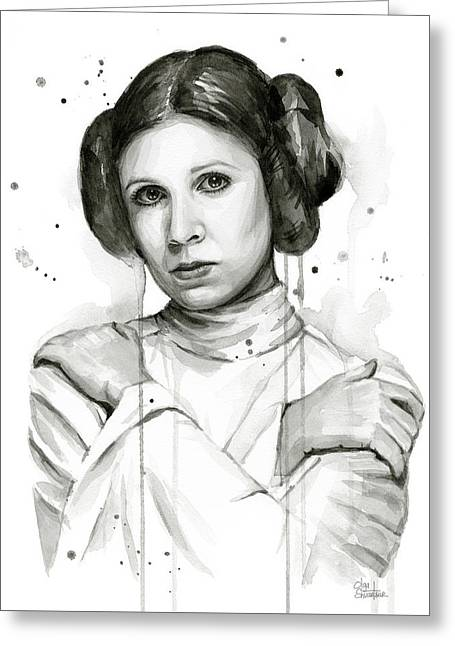 Princess Leia Portrait Carrie Fisher Art Greeting Card