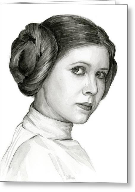 Princess Leia Watercolor Portrait Greeting Card by Olga Shvartsur
