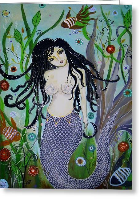 Greeting Card featuring the painting Princess Mermaid by Pristine Cartera Turkus