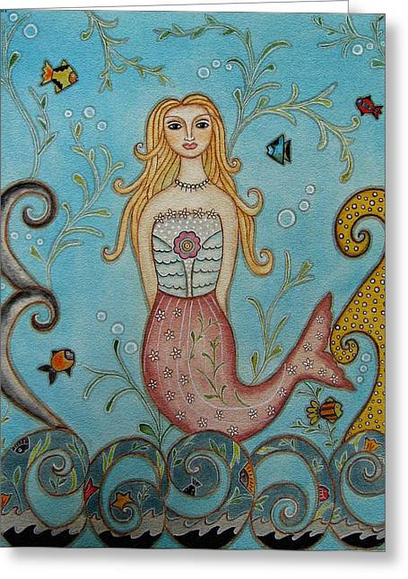 Princess Mermaid Greeting Card by Rain Ririn