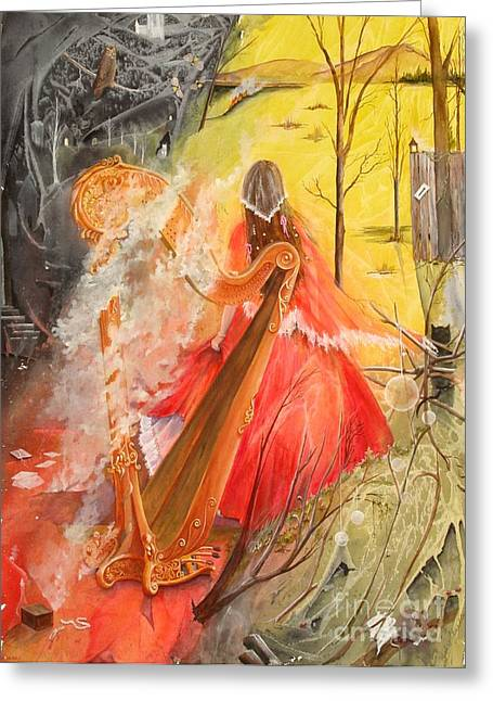 Princess Rebecca - Keeper Of The Golden Harp Greeting Card by Jackie Mueller-Jones
