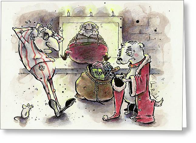 Princess The Alpha Male In Santa Roasting By An Open Fire Greeting Card by Connor Reed Crank