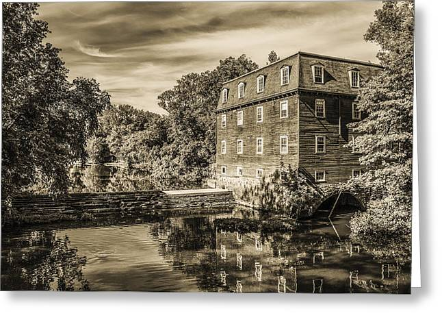 Princeton New Jersey - Kingston Mill In Sepia Greeting Card by Bill Cannon
