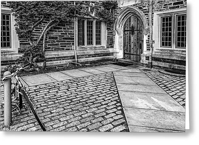 Greeting Card featuring the photograph Princeton University Foulke Hall Bw by Susan Candelario