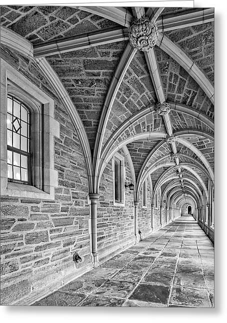 Princeton University Hallway Bw Greeting Card