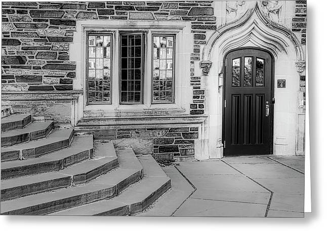 Greeting Card featuring the photograph Princeton University Lockhart Hall Bw by Susan Candelario