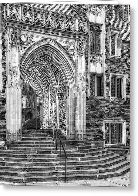 Greeting Card featuring the photograph Princeton University Lockhart Hall Dorms Bw by Susan Candelario