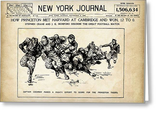 Greeting Card featuring the mixed media Princeton Vs Harvard - New York Journal 1896 by Daniel Hagerman