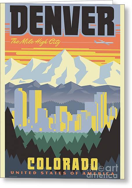 Denver Retro Travel Poster Greeting Card