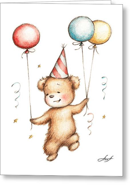 Print Of Teddy Bear With Balloons Greeting Card by Anna Abramska