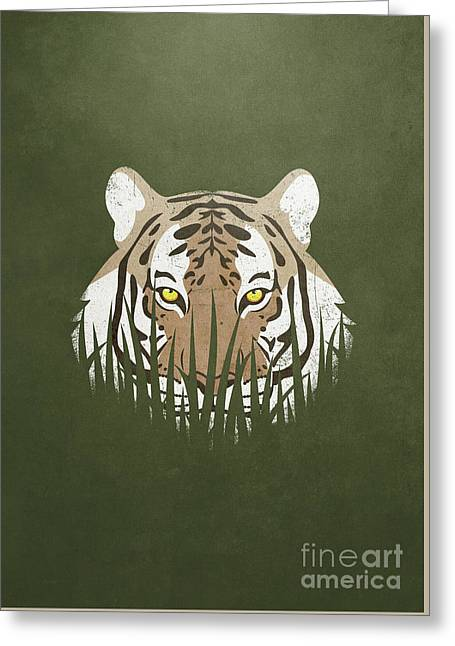Hiding Tiger Greeting Card by Sinisa Kale
