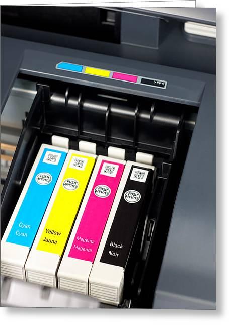 Printer Ink Cartridges Greeting Card by Boyan Dimitrov