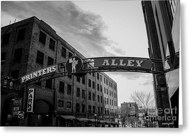 Printers Alley Black And White Greeting Card by Marina McLain