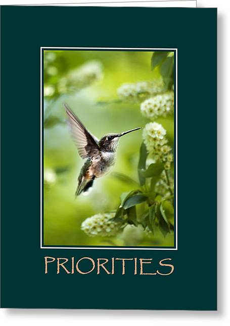 Priorities Inspirational Motivational Poster Art Greeting Card by Christina Rollo