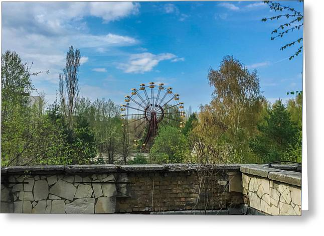 Greeting Card featuring the photograph Pripyat Ferris Wheel In Chernobyl by Chris Feichtner