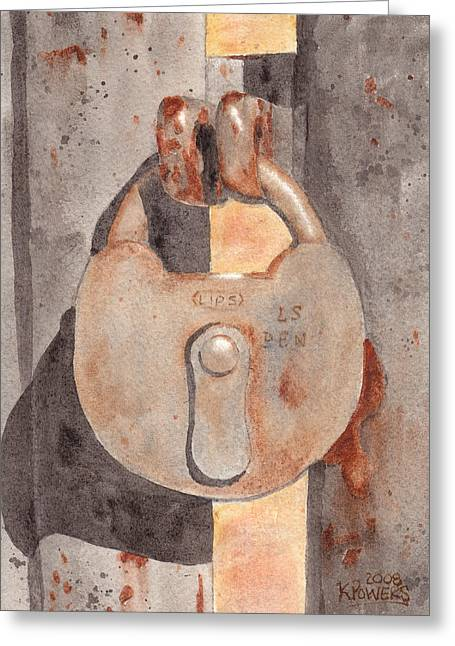 Prison Lock Greeting Card by Ken Powers