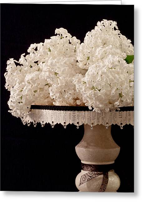 Pristine Lilacs On A Music Pedestal Greeting Card