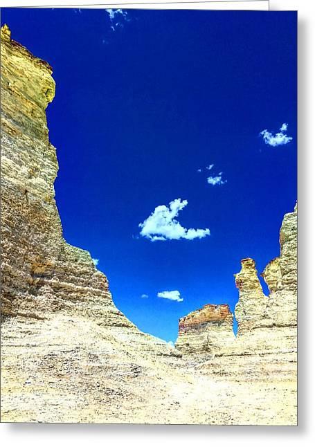 Pristine Sky Meets Historic Rocks Greeting Card