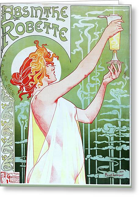 Privat Livemont, Absinthe Robette, Advertising Poster, 1896 Greeting Card
