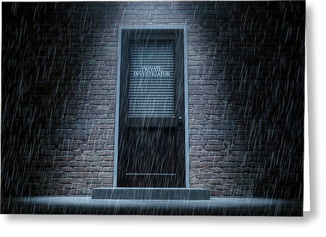Private Eye Door Outside Rain Greeting Card