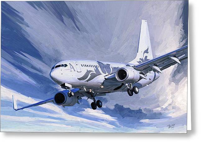 Greeting Card featuring the painting Private Jet M-ybbj by Nop Briex