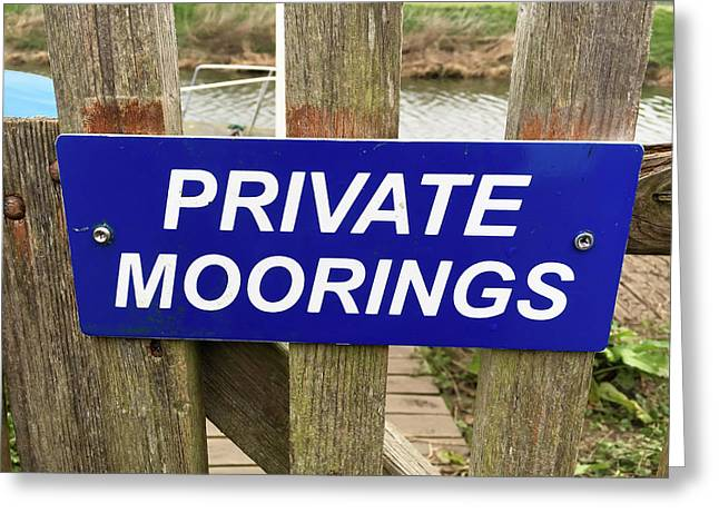 Private Moorings Sign Greeting Card by Tom Gowanlock