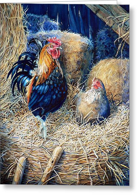 Hay Bales Greeting Cards - Prized Rooster Greeting Card by Hanne Lore Koehler
