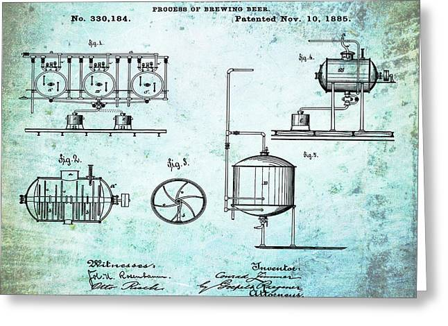 Process Of Brewing Patent 1885 In Old Style Greeting Card by Bill Cannon