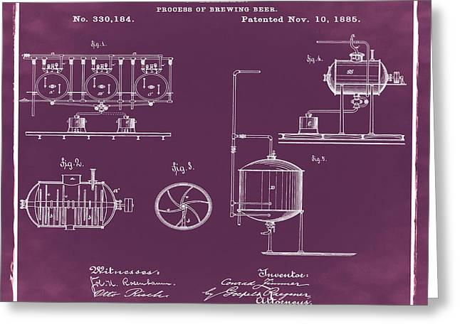 Process Of Brewing Patent 1885 In Red Greeting Card by Bill Cannon