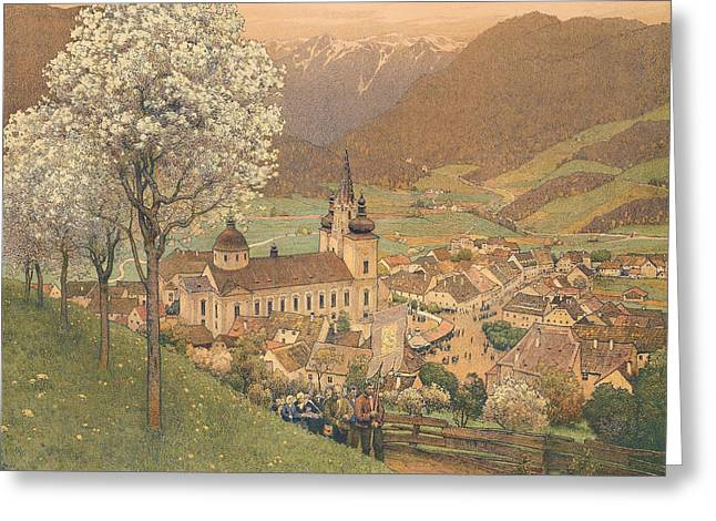 Procession At Mariazell Greeting Card