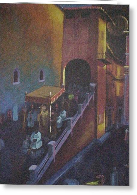 Procession At San Rufino Greeting Card by Bobbi Baltzer-Jacobo