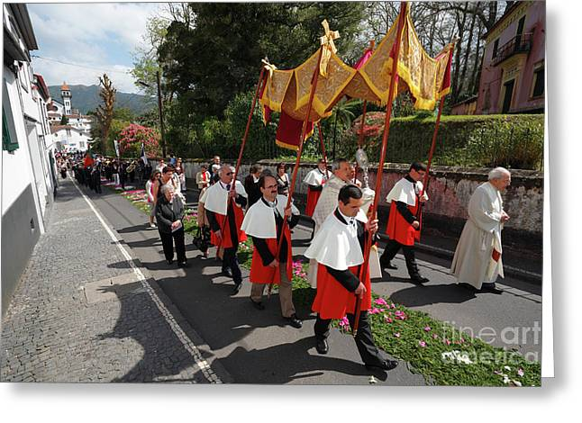 Procession In Azores Islands Greeting Card by Gaspar Avila