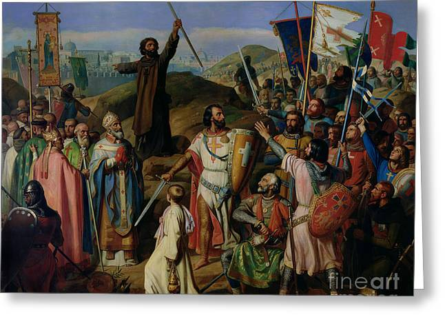 Procession Of Crusaders Around Jerusalem Greeting Card by Jean Victor Schnetz