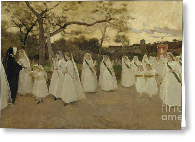 Procession Of Schoolgirls Greeting Card by MotionAge Designs
