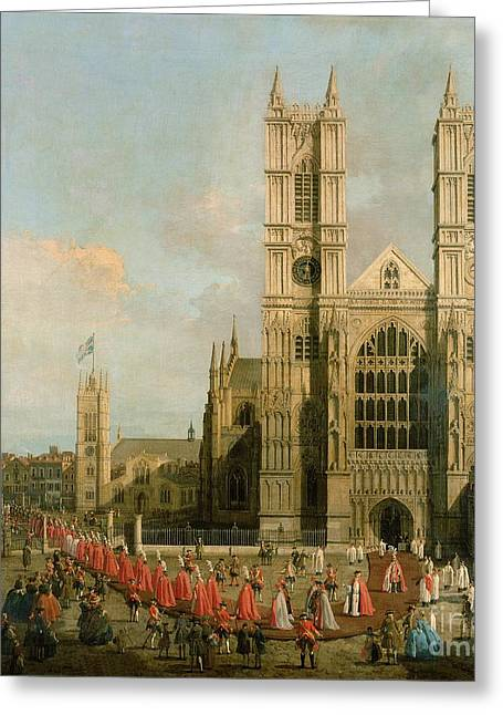Procession Of The Knights Of The Bath Greeting Card by Canaletto