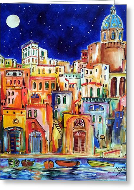 Procida Under The Moon Greeting Card