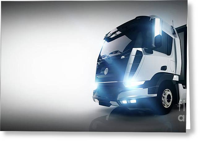 Professional Cargo Delivery Truck With Long Trailer. Banner Greeting Card by Michal Bednarek