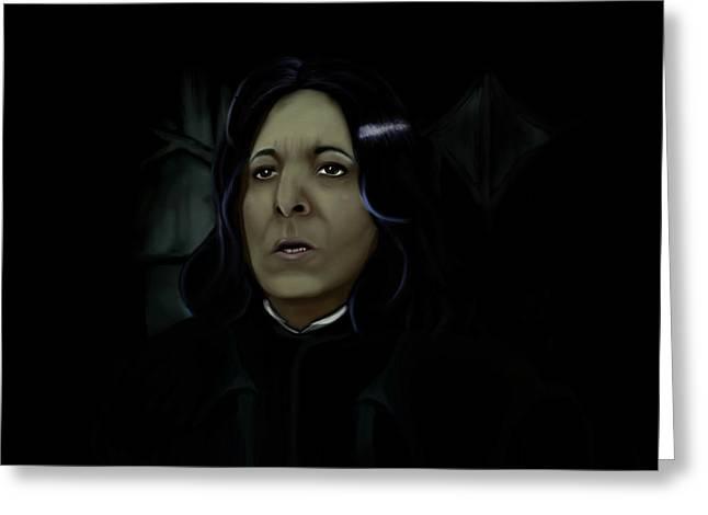 Professor Snape Greeting Card by Creative Art Attic