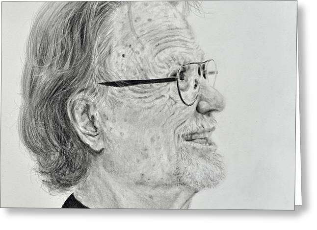 Profile Portrait Of Kris Kristofferson Greeting Card by Jim Fitzpatrick