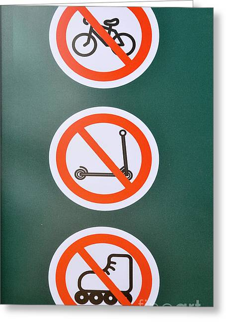 Prohibiting Signs No Bicycles Greeting Card by Shay Levy