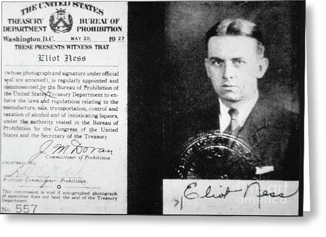 Prohibition Agent Id Card Of Eliot Ness Greeting Card
