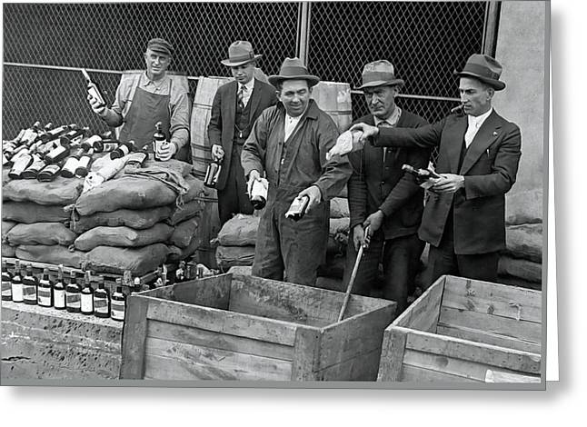 Prohibition Agents Destroy Whiskey Cache  1925 Greeting Card by Daniel Hagerman